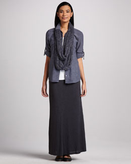 Eileen Fisher Breeze Chambray Shirt, Jersey Tank, Linen Twist Infinity Wrap & Maxi Flutter Skirt, Petite