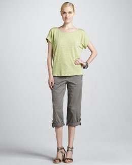 Eileen Fisher Boxy Linen Jersey Top & Cuffed Twill Capri Pants