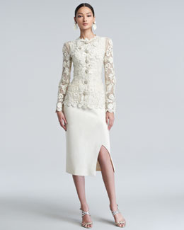 Oscar de la Renta Long-Sleeve Floral-Embroidered Lace Jacket, Georgette Tank & Side-Slit Crepe Midi Dress