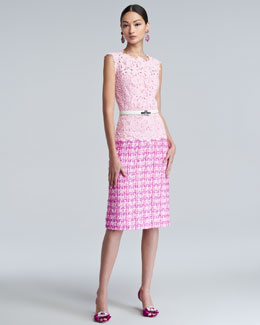 Oscar de la Renta Lace Tweed Combo Dress & Patent Leather Turn-Lock Belt
