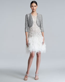 Oscar de la Renta Sparkle Sequined Shrug & Sparkle Feather-Skirt Dress