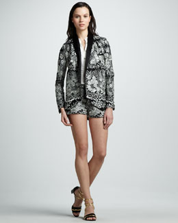 Haute Hippie Floral-Threadwork Jacket, Sleeveless Silk Tuxedo Blouse & Floral-Threadwork Shorts