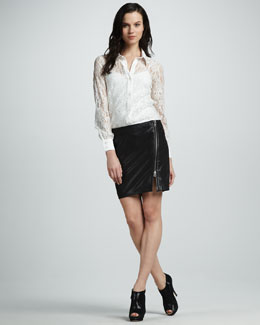 Haute Hippie Lace Button-Down Blouse & Asymmetric-Zip Leather Skirt