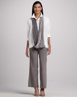 Eileen Fisher Classic Stretch-Linen Shirt, Sparkled Striped Infinity Scarf & Linen-Blend Trousers