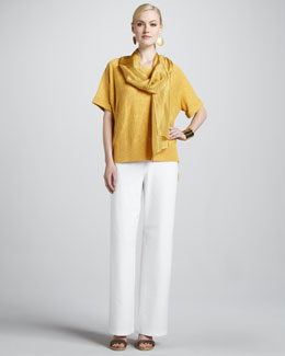Eileen Fisher Boxy High-Low Top, Whisper Silk Wrap, Stretch Crepe Wide-Leg Pants