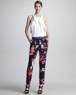 Etro Ruffled Racerback Blouse, Pleated Floral-Print Pants & Skinny Embossed Belt