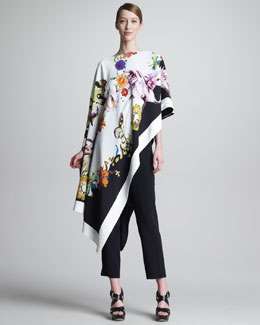 Etro Asymmetric Printed Poncho & Cropped Ankle Pants