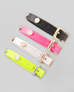 MARC by Marc Jacobs Turnlock-Studded Leather Bracelet