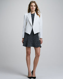 Theory Caledon Structured Blazer & Nikay Striped Flare Dress
