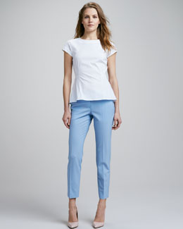 Theory Elili Flare-Hem Top & Tailor Cropped Pants