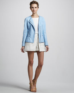 Theory Ford Tailored Leather Jacket, Saleya Cap-Sleeve Top & Nyos Striped Shorts