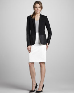 Theory Pryor Leather Blazer, Kitta B Tank & Atacama Leather Skirt