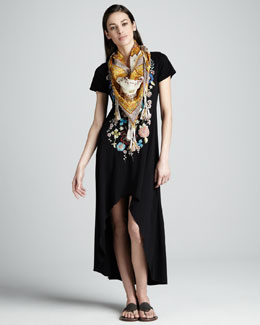 JWLA for Johnny Was Julip Embroidered High-Low Dress & Asia Printed Silk Scarf, Women's