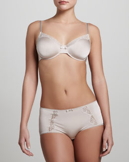Hanro Maud Underwire Bra & Lace-Panel Briefs, Seashell