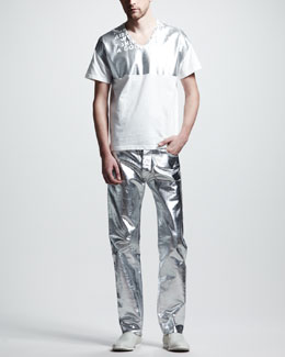 Maison Martin Margiela Metallic Graphic Tee & Metallic Jeans