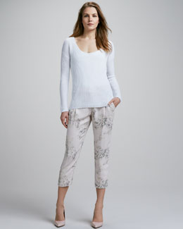 Theory Dafna Ribbed Sweater & Blossom-Print Cropped Pants