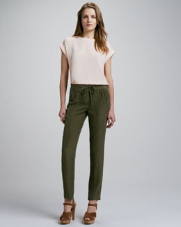 Theory Saleeya Loose Crepe Top & Dunes Silk Tapered Pants