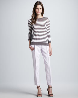 Theory Sag Harbor Striped Knit Sweater & Menton Relaxed Silk Pants