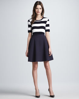 Theory Dasher Striped Ponte Top & Gessi Crepe A-Line Skirt