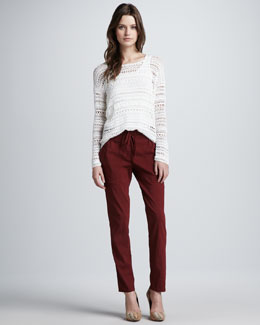 Theory Sag Harbor Wide-Stitch Sweater & Relaxed Drawstring Pants
