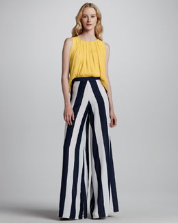 Alice + Olivia Gathered Tank & Super-Flare Striped Wide-Leg Pants