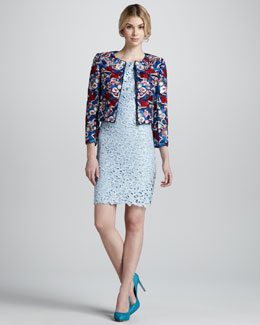 Alice + Olivia Guilia Embroidered Box Jacket and Clover Eyelet Lace Dress