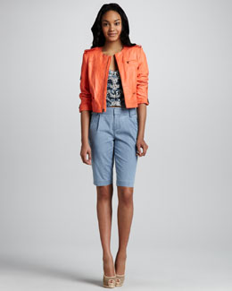 Alice + Olivia Cropped Zipper Jacket, Rhinestone Bustier & Arthur Denim Bermuda Shorts