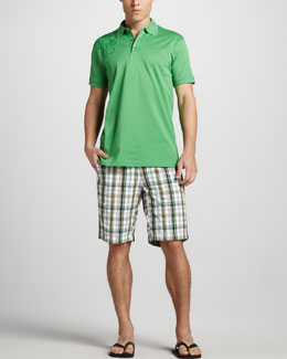 Robert Graham Laguna Paisley-Shoulder Polo & Barbuda Check Shorts