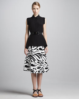 Marni Cap-Sleeve Button-Front Blouse, Graphic-Print A-Line Skirt & Elastic Horn Belt