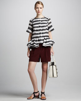 Marni Short-Sleeve Graphic Peplum Jacket & Pleated Shorts