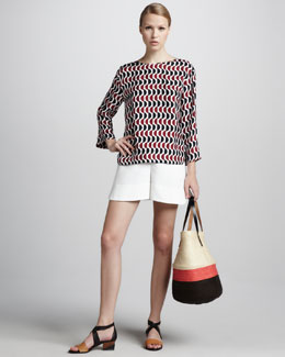 Marni Printed Bracelet-Sleeve Blouse & Pleated Shorts