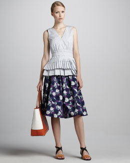 Marni Sleeveless Pleated Peplum Top & A-Line Floral Skirt
