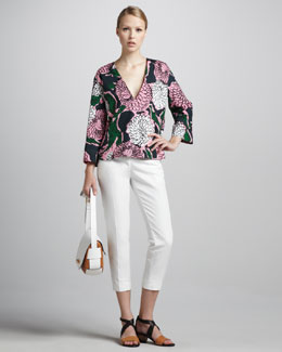 Marni Floral-Print Kimono-Sleeve Top & Cropped Side-Zip Pants