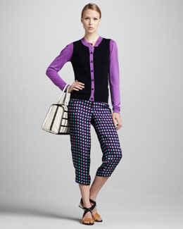 Marni Colorblock Cardigan & Grid-Print Cropped Pants