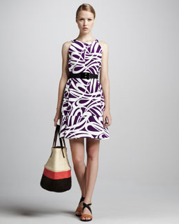Marni Swirl-Print Short Dress & Elastic Horn Belt