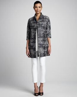 Eileen Fisher Illusion Jacquard Coat, Silk Jersey Tunic & Washable Stretch-Crepe Ankle Pants, Women's