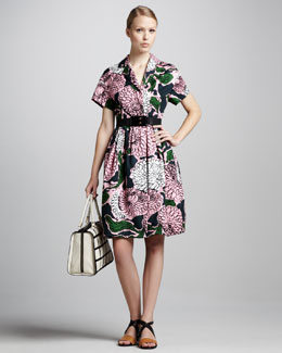 Marni Floral-Print Coat Dress & Elastic Horn Belt