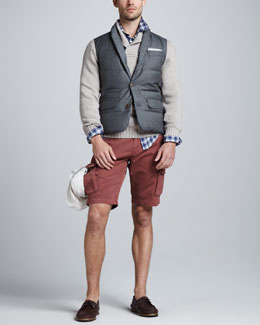 Brunello Cucinelli Sartorial Vest, Chunky Shawl-Collar Sweater, Plaid Linen Sport Shirt & Slim Cargo Shorts