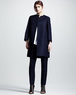 Jil Sander One-Button Gabardine Coat, Cap-Sleeve Poplin Blouse & Flared Ankle Pants