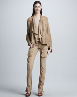 Ralph Lauren Black Label Tissue-Weight Suede Jacket, Cashmere-Silk Top & Stretch Cargo Pant