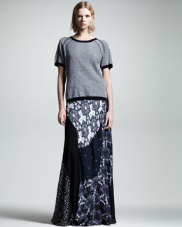 ALC Haight Short-Sleeve Raglan Sweater & Brixton Printed Silk Maxi Skirt