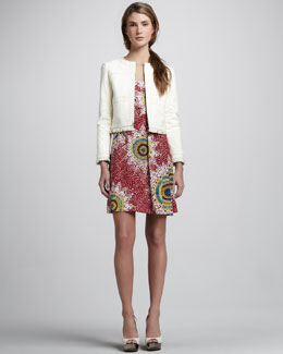 Nanette Lepore Printed Sleeveless Dress & Cowgirl Leather Jacket
