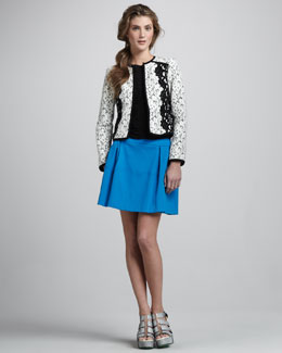 Nanette Lepore Spectacle Lace Jacket, Arena Shirred-Front Top & Valley Twill Skirt