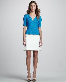 Nanette Lepore Bandit Lace Top & Coyote Skirt