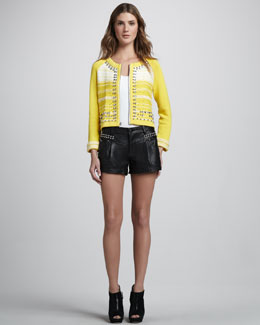 Nanette Lepore Boom Boom Leather Studded Shorts & Wild West Studded Cardigan