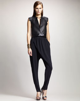 Lanvin Sleeveless Leather Gilet, Deep V-Neck Blouse & Wrap-Front Harem Pants