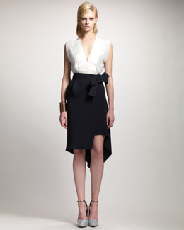 Lanvin Deep V-Neck Blouse & Asymmetric-Hem Wrap Skirt