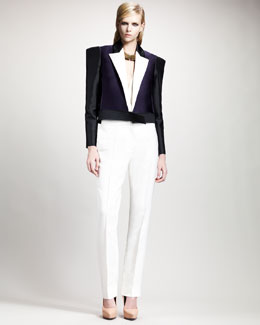 Lanvin Tricolor Jacket, Deep V-Neck Blouse & Straight-Leg Pants