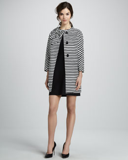 kate spade new york dorothy striped cotton-silk coat & billie bow dress