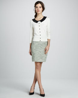 kate spade new york kati beaded cardigan & judy tweed pencil skirt